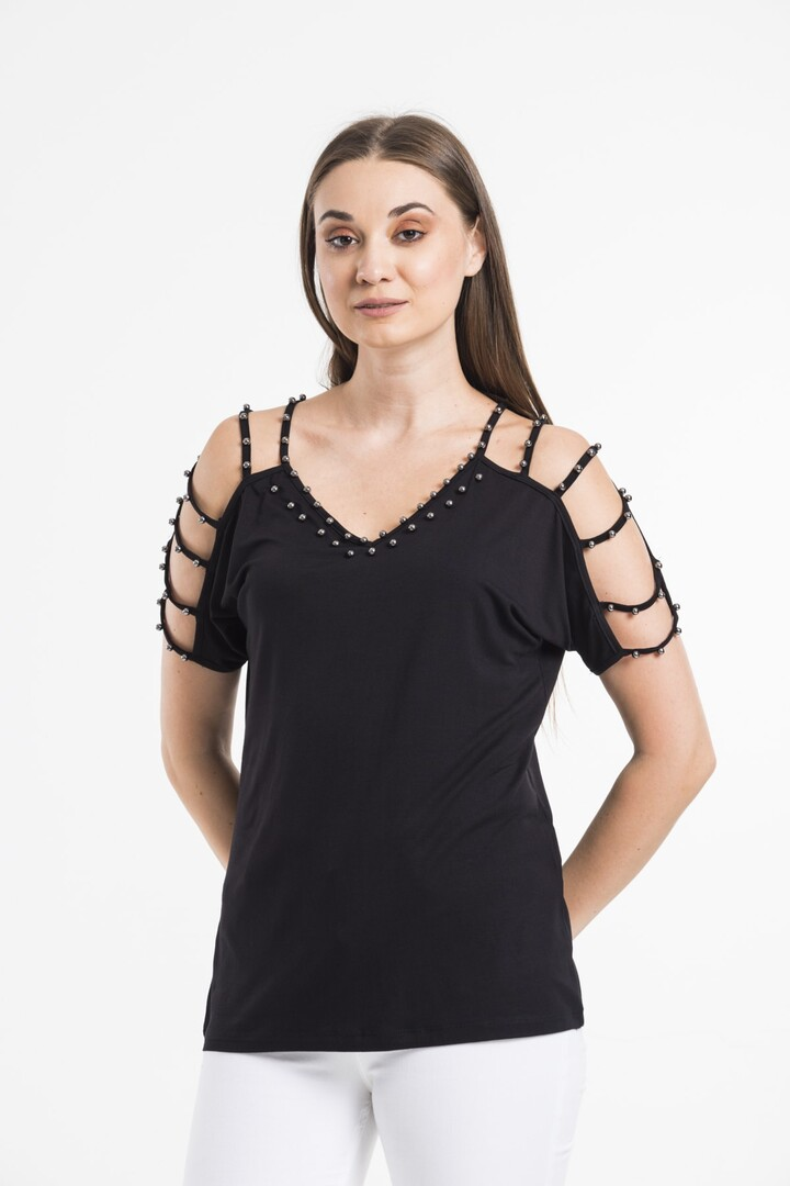 Pearl Detailed Blouse With Open Shoulder